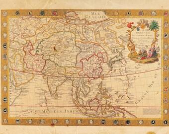 Vintage Pacific Asia Map Print 8x10 P49