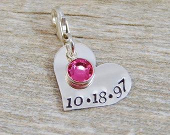 Hand Stamped Jewelry - Personalized Jewelry - Charm For Bracelet - Sterling Silver Heart - Date & Birthstone - Lobster Clasp or Slider Bail