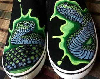 Custom Commission Reptile Art Vans style Generic shoes