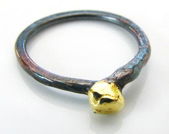 Ring, sterling silver, fine silver, 22k gold, Gold solitaire by melanie j cook
