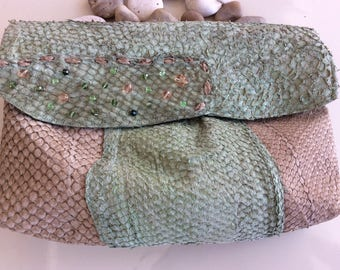 GREEN BAG - woman purse, eco bag, Green bag, ethical bag, green leather, pochette, unique, made in italy, eco purse, eco leather, present