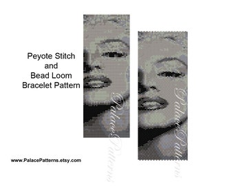 Black and White Marilyn Monroe Bead Loom Weaving Pattern - Marilyn Monroe Peyote Bracelet Pattern