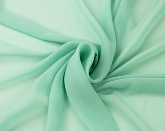Green Mint Solid Hi-Multi Chiffon Fabric by the Yard, Chiffon Fabric, Wedding Chiffon, Lightweight Chiffon Fabric - Style 500