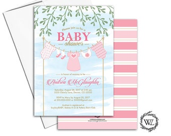clothesline baby shower invitation girl pink blue greenery, printed baby shower invites printable, watercolor, unique   - WLP00750