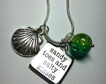 Sandy toes and salty kisses Necklace | Beach lovers necklace | Stainless Steel Laser Etched | sea lake ocean charm necklace