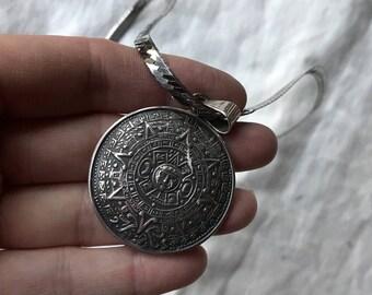 Aztec pendant etsy quick view vintage aztec calendar pendant mexican silver mozeypictures Choice Image