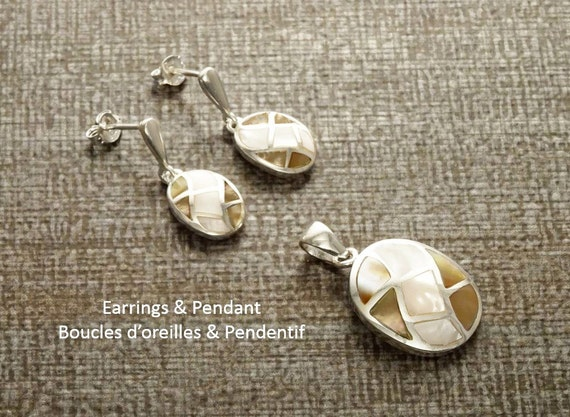 GENUINE Brown Paua Shell Grid Earrings and Pendant SET, Sterling Silver, Mosaic, Brown MOP Pearl with Rainbow Highlights, Geometric Jewelry