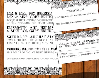 Formal Wedding Invitation / Black and White Wedding Suite / Inviation Suite / Formal / vintage / Wedding / Anniversary