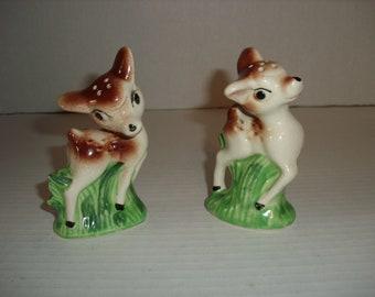 Vintage Deer Salt and Pepper Shakers.  Made in Japan.