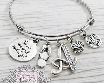 Toes in the Sand BRACELET- Expandable Bangle Bracelet- Beach Theme Gift, Jewelry, Sand Dollar Bracelet- Initial Charm Bracelet- Personalized