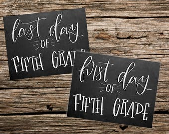 First and Last day of fifth grade printable Chalkboard style photo sign - Instant Download