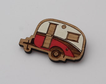 Laser cut wood brooch, Cosy, cute vintage caravan, red and white handpainted