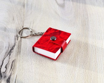 Small notebook Mini journal Red leather book Leather keychain Journal pendant Tiny notebook Mini book for keys Miniature Book lovers gift