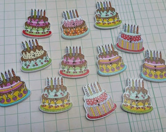 """Birthday Cake Buttons - Happy Birthday Cake Button - 1 1/2"""" Wide - 12 Buttons"""