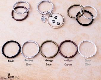 50 Split Key Rings - Keychain Split Rings - 25mm 1 inch - 5 Color Choices - Silver, Antique Silver, Vintage Brass, Antique Copper, Black.