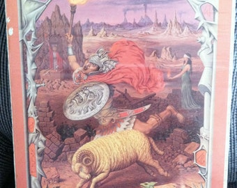 Antique surreal Aries poster.