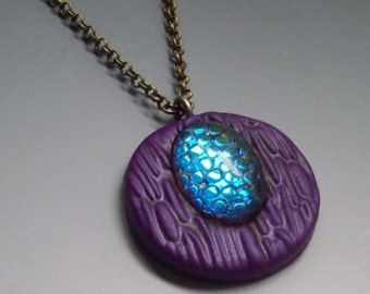 Pendant Polymer Clay Purple with Snakeskin Cabochon