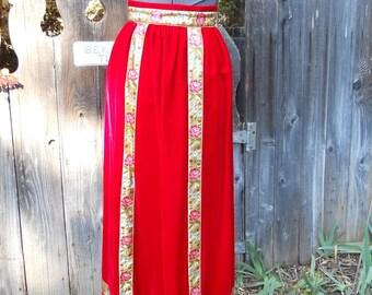 "SALE Red Velvet Skirt Vintage 1970s Maxi Hostess Holiday Skirt  . 23"" Waist Extra Small"
