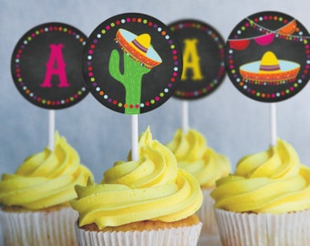 Mexican Fiesta Cupcake Toppers - Set of 12 - Instantly Downloadable and Editable File - Personalize and Print at home with Adobe Reader