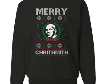 Merry Chrithmith Funny Mike Tyson Ugly Christmas Sweatshirt - Crew-neck Long Sleeve Sweatshirt
