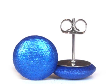 6 Shapes + Sizes! Metallic Cobalt Blue Glittery Stud Earrings - Big + Small, Round + Square - Handmade in Australia