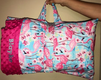 Pink Flamingos kindermat Cover with Pillow, Minky blanket and monogram
