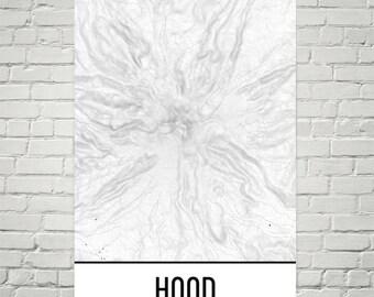 Mount Hood Print, Mt. Hood Oregon Poster, Hood Topographic Map, Contour Lines, Hiking Gift, Oregon State, Mountain Art Print