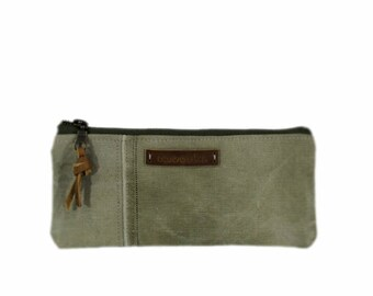 Canvas cosmetic case, pencil pouch, cosmetic bag, recycled cosmetic pouch, green makeup bag