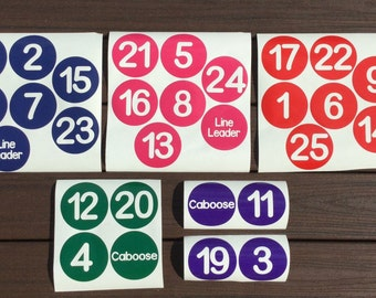 Vinyl Classroom Line Up Number Decals with Line Leader and Caboose-Various sets available to meet your classroom needs!