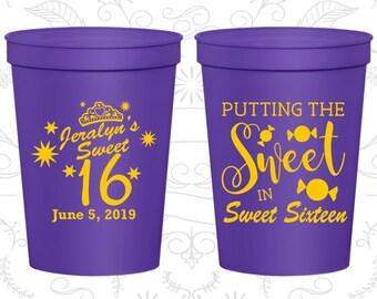 16th Birthday Party Cups, Custom Plastic Birthday Cups, Sweet 16 Cups, Sweet sixteen cups, Birthday Party Cups (20142)