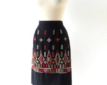 Vintage 1950s Skirt | Folk Skirt | 50s Skirt | 24W XXS