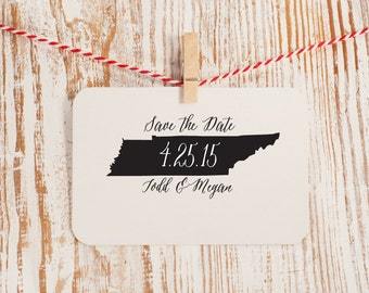 Custom Save the Date Stamp, State to State Style No. 46W