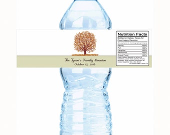 "Tree Leaves Family Reunion Water Bottle Labels- Select the quantity you need below in the ""Pricing & Quantity"" option tab"