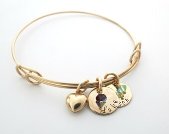 Personalized Mothers Bracelet - Birthstone Bracelet - Custom Heart Bracelet - Personalized Jewelry - Grandma - Family - Son - Daughter