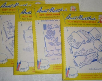 Group of Four, Aunt Martha's Hot Iron Embroidery Transfers, Vintage NOS Includes Colonial Girl, Day of the Week Towels, Spinning Wheel, Rose