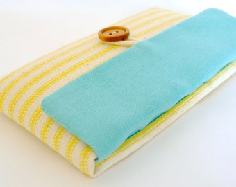 iPhone 8 Pouch, iPhone 7 Plus Sleeve, iPhone 6S Sleeve, iPhone Fabric Foam Padded Cover - Aqua + Yellow Stripe