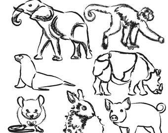 Sketched Animal Clipart, Animal Clip Art, Elephant Clipart, Rabbit Clipart, Rhino Clipart, Mouse Clipart, Digital Download