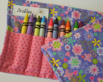 Crayon Roll-up - Lavender Delight, crayon holder,  crayon roll