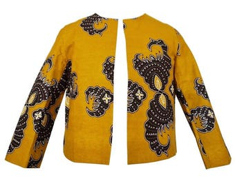 Taby African Print Cropped Jacket - Mustard