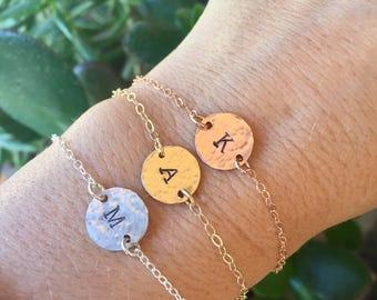 Initial Bracelet - Personalized Jewelry - Custom Bracelet - Bridesmaid Gift - Wedding Gift - Rose Gold Filled Bracelet -  disc bracelet
