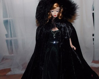 Luxurious Black Cape with Feather Trim & Armholes fits 1:6 Scale Fashion Dolls.  (Cape only, Barbie and Gown not included)