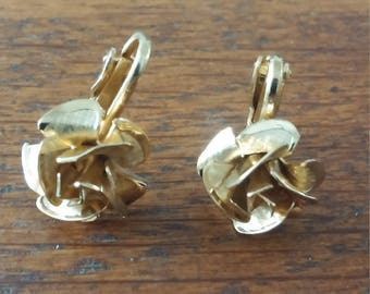 Gold Tone Rose  Clip Earrings