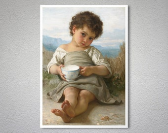 The Cup of Milk (La Tasse de Lait) 1879 by William Adolphe Bouguereau -  Poster Print, Sticker or Canvas Print / Gift Idea