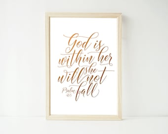 Real Foil Print - God is Within Her Psalm, Bible Verse, Scripture Christian Bible Prints, Home Decor Wall Art, Gold, Gopper, Silver