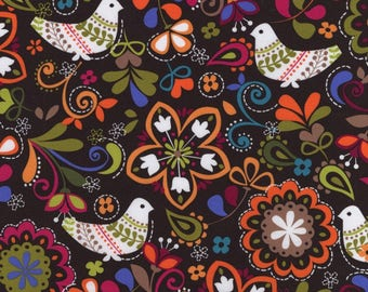 1 yard Michael Miller Birds of Norway Espresso Fine Wale Corduroy Fabric, 100% cotton fabric by the yard, Folk Art, brown purple DESTASH