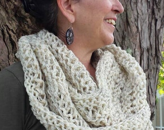 Cream Knit Infinity Scarf - Off White  Knit Circle Scarf - Infinity Scarf - Cream Knit Scarf