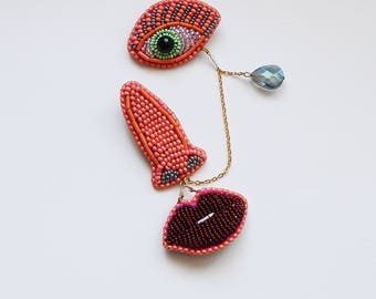 Face brooch jewellery , embroidery designs ruby lips brooch  / Gift for architect / Beaded Face Pin for Jackets / Art Jewelry