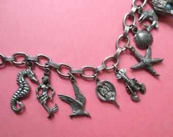 Ocean Theme Charm Bracelet - Mermaid - Lobster - Shells - Starfish - Seashore
