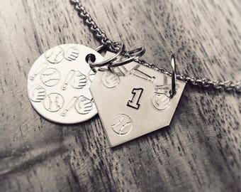 Hand Stamped  Baseball - Softball Personalized  Charm Necklace by Precision  Princess