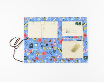 Small or Large Jewelry Case / Roll up Travel Case - Bon Voyage in Periwinkle - Rifle Paper Co.